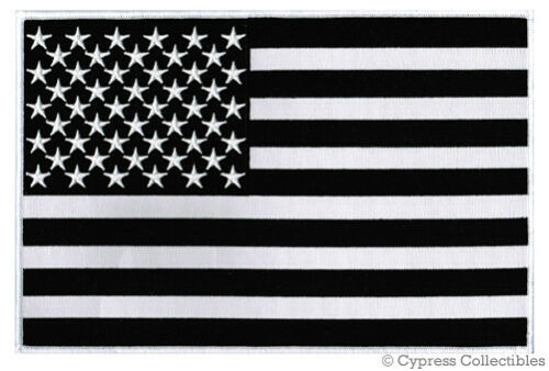 BLACK /& WHITE AMERICAN FLAG EMBROIDERED IRON-ON PATCH LARGE 11-INCH US USA new