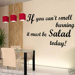 Image Is Loading SMELL BURNING SALAD Wall Art Sticker Quote Kitchen