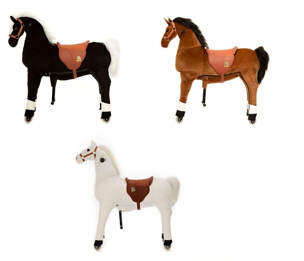 Animal-Riding Self Propelled Plush Ride On Horse in Choice of Colour & Size