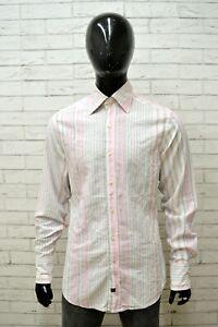 Camicia-Maglia-Uomo-GUESS-Taglia-XL-Shirt-Manica-Lunga-Estate-Cotone-a-Righe
