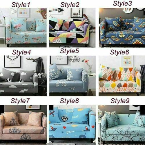 1//2//3//4 Seaters Elastic Printed Sofa Cover Couch Protector Slipcovers  Non-slip