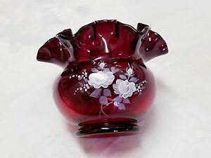 Vintage Fenton Rose Bowl Ruby Red Ruffled Edge Hand Painted Signed L. Everson