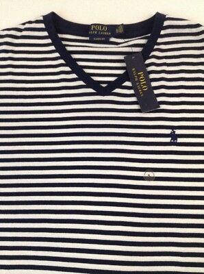 Ralph Lauren White Navy Striped Polo NWT XL