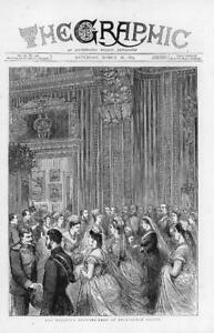 1874-Antique-Print-LONDON-BUCKINGHAM-PALACE-DRAWING-ROOM-RECEPTION-160