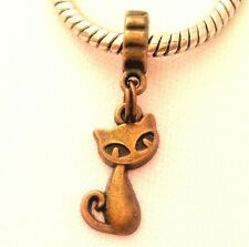 Kitty Cat Animal Dangle Bead Bronze for European Style Bracelet Or Clip On Charm