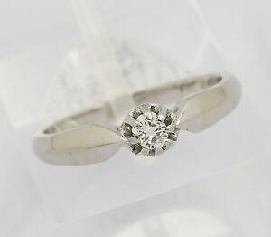 Solitaer-Ring-in-aus-14-kt-585er-Weiss-Gold-mit-Brillant-Brilliant-Diamant-Gr-53