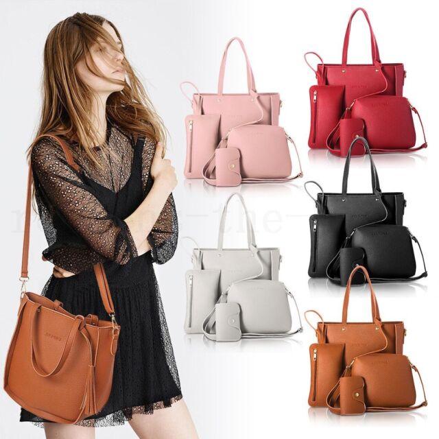 2018 4pcs/set Women Leather Shoulder Tote Purse Satchel Messenger Bags Handbag