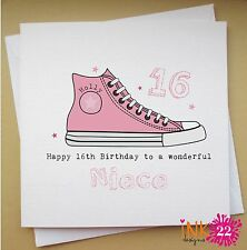Personalised Birthday Card Teenager Trainer 13th,14th,15th,16th Daughter,Niece,