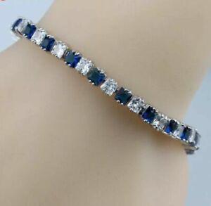 1-Ct-Cushion-Cut-Diamond-amp-Blue-Sapphire-Tennis-Bracelet-14k-White-Gold-Finish