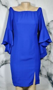 VENUS-Blue-Flounce-Sleeve-Dress-8-Off-Shoulder-Lined-Cocktail-Party-BodyCon