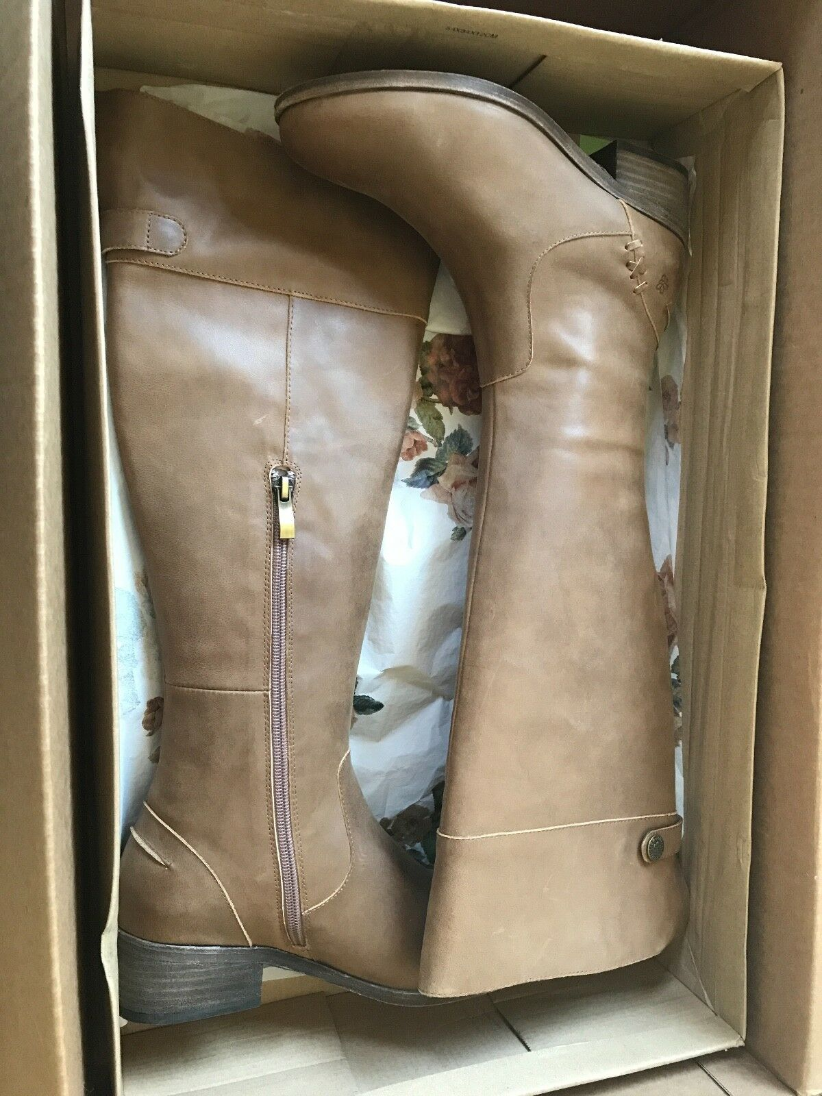 *NEW* Joyfolie Women's Hadley tan leather riding Boots, sz 7. Beautiful details!