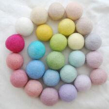 100% Wool Felt Balls - 4cm - 25 Count - Assorted Light, Pale & Pastel Colours