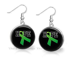 Green Ribbon Traumatic Brain Injury Glass Top Pendant Necklace Support Gift