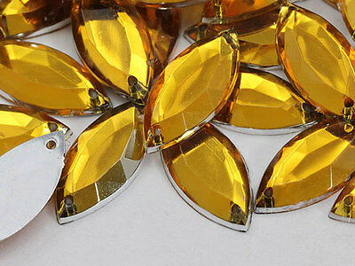 20x9mm Gold Topaz CH16 Navette Flat Back Sew On Craft Gems - 50 Pieces