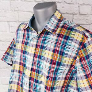 NAUTICA-Multicolor-Plaid-Checked-Short-Sleeve-Button-Down-Mens-Shirt-Large