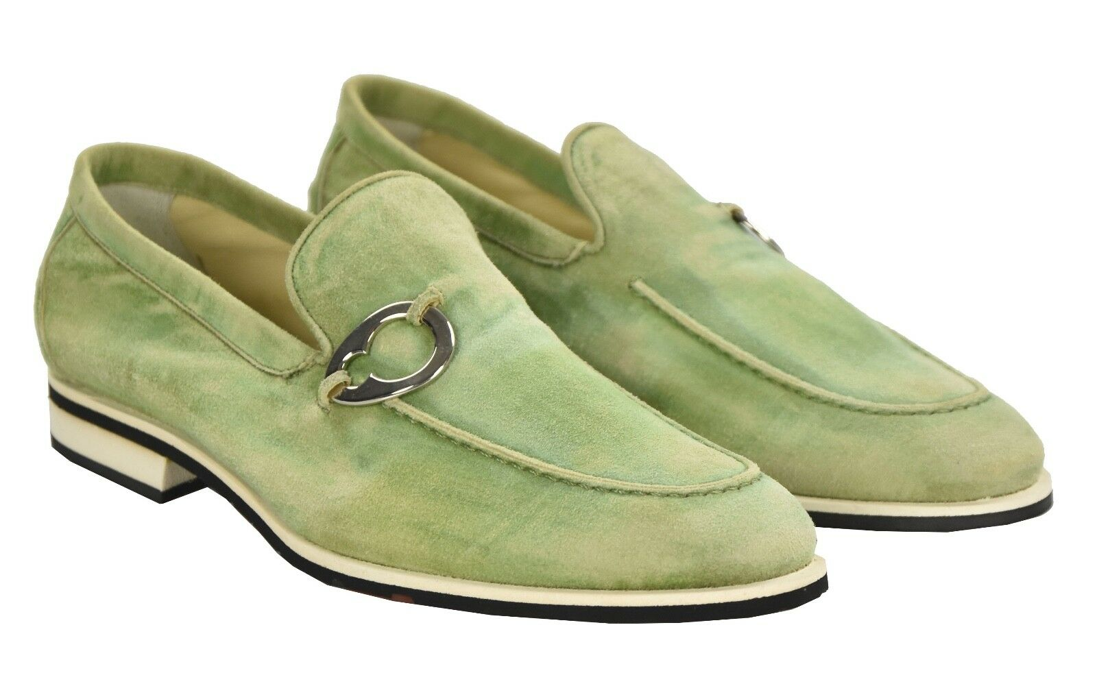 NEW KITON NAPOLI LOAFERS SHOES 100% LEATHER SUEDE SIZE 8 US 41 O74