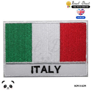 Italy-National-Flag-With-Name-Embroidered-Iron-On-Sew-On-Patch-Badge