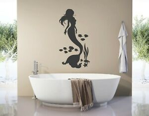 Details zu Wandtattoo Badezimmer fische Meerjungfrau Wandtattoo Mädchen  Nixe Meer pkm415