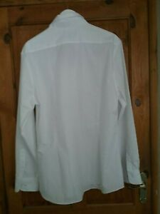 Marks-and-spencer-Mens-White-Long-Sleeved-shirt-size-Collar-17-Slim-Fit-New