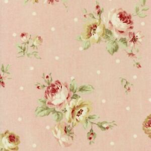 Cottage-Shabby-Chic-Lecien-Durham-Quilt-Roses-Floral-Fabric-31927L-20-Pink-BTY