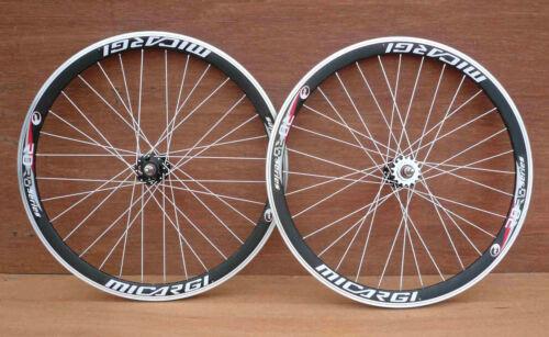 PIGNON FIXE PISTE route 700 C 40 mm roues Noir Jantes W Blanc rayons Sealed Bearing