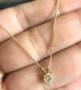 Goldsmiths-9ct-Yellow-Gold-Solitaire-Diamond-Necklace-0-25ct-Pendant-amp-Chain