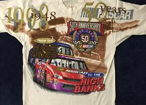 "VINTAGE 1998 ""NASCAR'S 50TH"" ANNIVERSARY - NEW - WHITE - UNISEX - XL T-SHIRT"