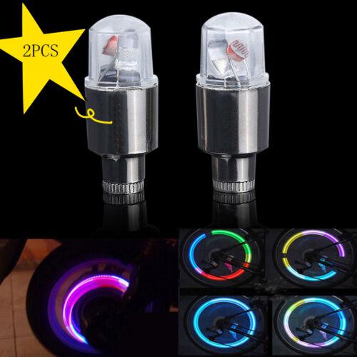2 Neon LED Lamp Flash Tyre Wheel Valve Cap Light For Car Bike Bicycle Motor Lamp