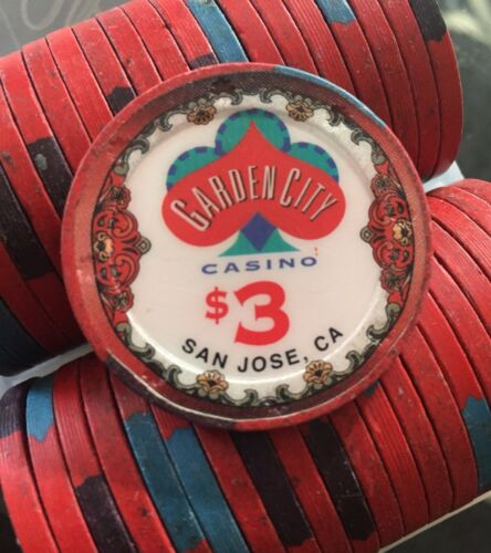 100 $3 Garden City Casino Chips San Jose California Blue Chip Company BCC