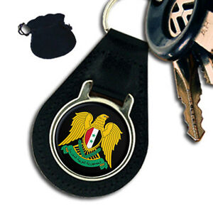 SYRIA SYRIAN COAT OF ARMS LEATHER KEYRING  KEYFOB - Plymouth, United Kingdom - FOR ENGRAVED PRODUCTS: Engraved product can be return only in the case if item you purchased from us is found to be faulty!!! If in the unlikely event the product you purchased from us is found to be faulty we will offer you a r - Plymouth, United Kingdom