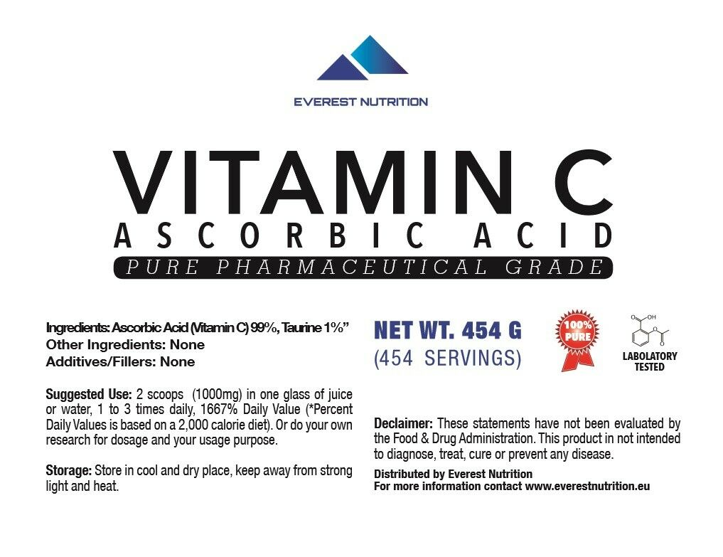 Ascorbic Acid Vitamin C C Vitamin 100% PHARMACEUTICAL QUALITY POWDER FACTORY SEALED 6b4e3c