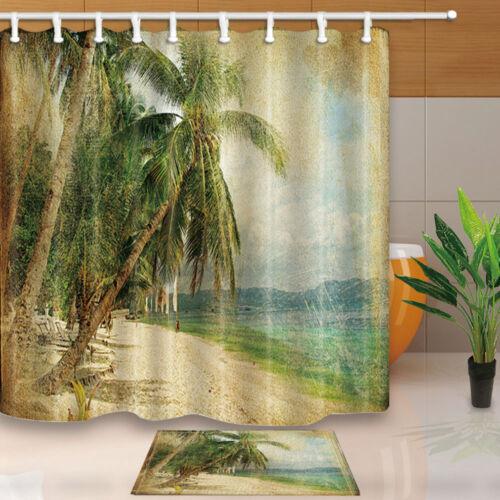 "71/"" Retro beach view Waterproof Fabric Shower Curtain Bathroom set home decor"