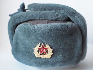 4a3f148532617 Authentiс Ushanka USSR Soldier Military Winter Hat with Badge Arctic ...