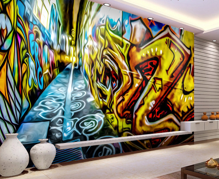 3D Graffiti Painted Alley 17 Paper Wall Print Wall Decal Wall Deco Indoor Murals