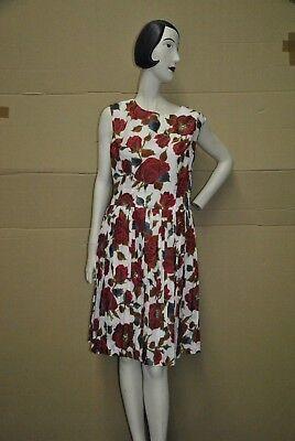 Abito Fiori Rose Rosse Rockabilly Vestito Sottoveste True Vintage 60s Flower Dress-mostra Il Titolo Originale