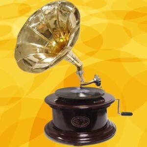 Gramofono-Madera-Redondo-Mecanico-Musikinstrumente-Regalos-Tecnologia-amp-Aparejos