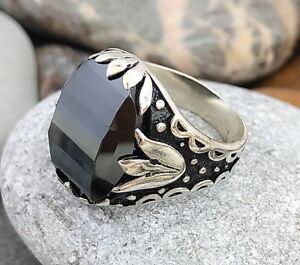 Handmade-Black-Zircon-Stone-925-Sterling-Silver-Men-039-s-Woman-039-s-Ring-950