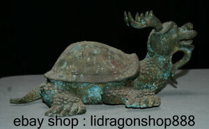 "13 ""antiquité Bronze Chinois Ware Feng Shui Tortue Dragon Tortue Animal Statue"