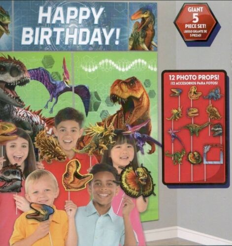 DINOSAURS Scene Setter HAPPY BIRTHDAY party deocr dinos /& 12 photo booth props