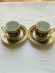 Vintage-Fine-Porcelain-Demitasse-2-Coffee-Cups-2-Saucers-Made-In-Italy