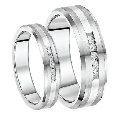 His And Hers Couples Titanium & Silver Rings 5&7mm Diamond Rings VerrüCkter Preis