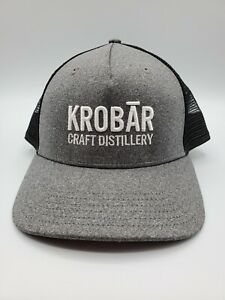 Krobar-Craft-Distillery-Micro-Brewery-Snap-Back-Mesh-Cap-Trucker-Hat-Grey-Black