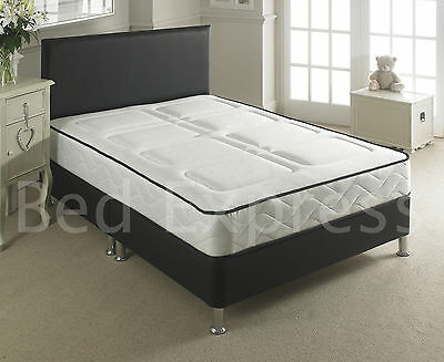 LEATHER BED-SMALL DOUBLE BLACK-BROWN-WHITE With MEMORY FOAM-ORTHOPAEDIC MATTRESS