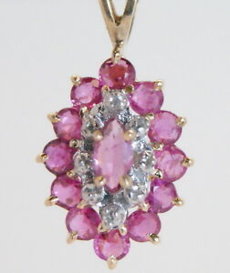 GORGEOUS-Estate-10K-Gold-75-Ct-Genuine-Marquise-Ruby-amp-Diamond-Drop-Pendant