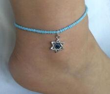 Un seme Perline Turchese Blu Stella di Davis malocchio fascino braccialetto alla caviglia Cavigliera
