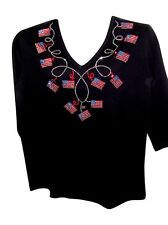 1X 20/22  AMERICAN FLAG TERAZZO WOMEN'S KNIT TOP JULY 4TH ART DESIGN BY MICHAEL