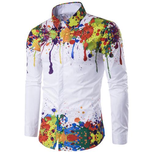 Colorful 3D Color splatter Print Mens Long Sleeve Casual Formal Dress Shirt Top