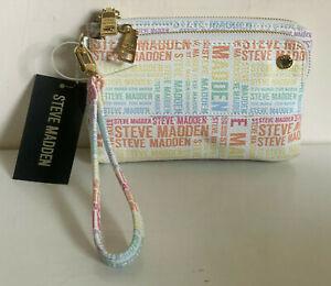 NEW! STEVE MADDEN BTRELL WHITE DOUBLE ZIP WALLET CLUTCH BAG POUCH WRISTLET $44