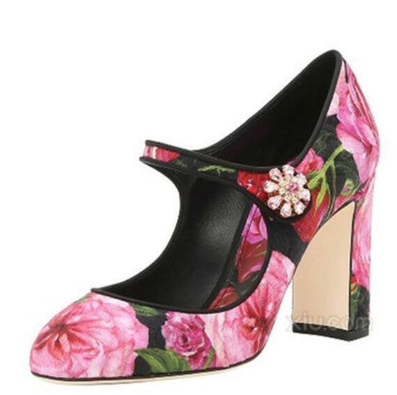 femmes Rhinestones Ankle Strap High Block Heels Floral Mary Jane chaussures HOT E235