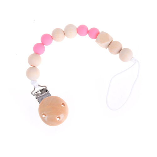 Candy Color Pacifier Clip Chain Holder Wood Silicone Beads Nipple Dummy Holde VH